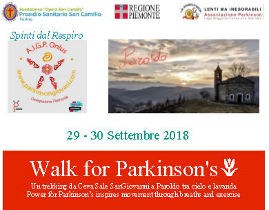 29-30 Settembre 2018 Walk For Parkinson's 2018